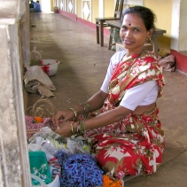 photos of women selling flowers at the Ramnathi Devasthan Temple Goa by Arun Shanbhag