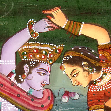 Miniature Madhubani painting of RadhaKrishna dancing in Vrindavan pic by Arun Shanbhag