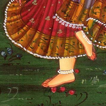 Miniature Madhubani painting of RadhaKrishna dancing in Vrindavan pic by Arun Shanbhag
