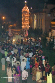 Devotees follow palki for Ramnath Dev at Ramnathi Devasthan, Goa
