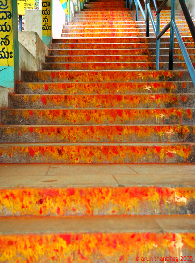 Walking up the stairs to the Tirupati Devasthan pics by Arun Shanbhag