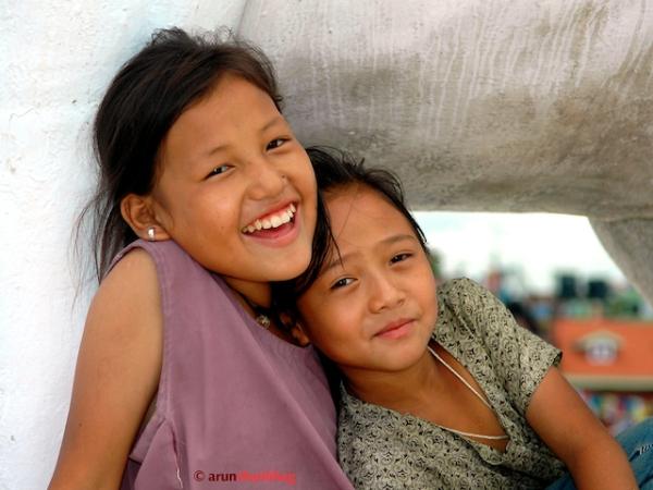 Pics of Kids at the Baudhanath Stupa, Kathmandu Nepal by Arun Shanbhag