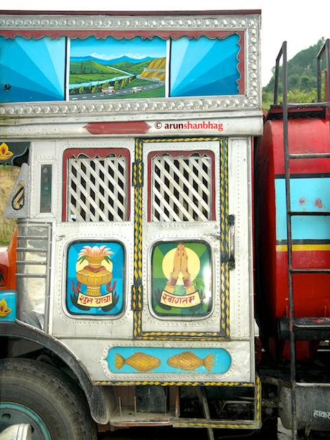 Graphics on a truck at rest area by Arun Shanbhag