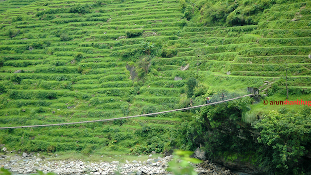 Pics of Fields cut in mountains enroute from Kathmandu to Kodari by Arun Shanbhag