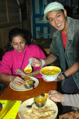 Pictures of Dosa and Bhajji for breakfast in Nepal by Arun Shanbhag