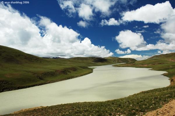 Brahmaputra River in Paryang Tibet by Arun Shanbhag