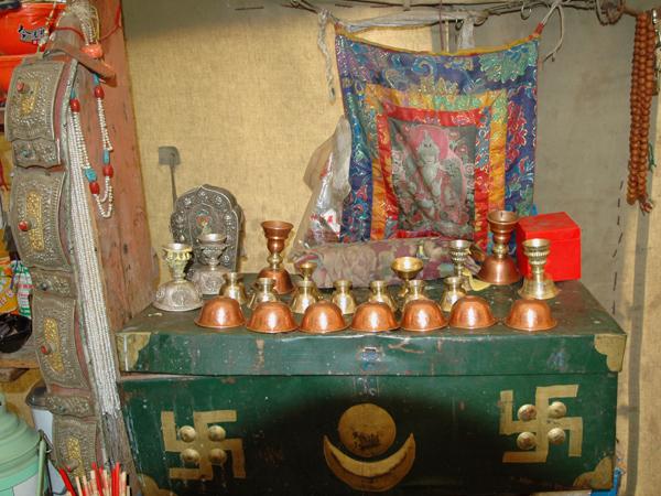 Buddhist Shrine at Three Brothers Tea House by Arun Shanbhag