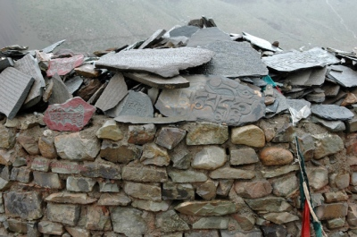 pics of stone tables inscribed with Om Mani Padme Hum at Kailash by Arun Shanbhag