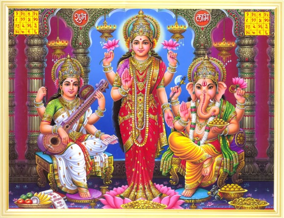 print of Saraswati, Lakshmi and Ganapati posted by Arun Shanbhag