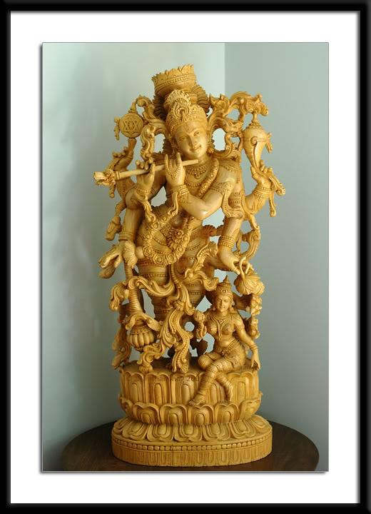 RadhaKrishna Sculpture in White Wood for Gokulashtami Krishna Janmashtami