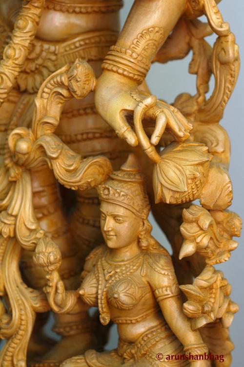 RadhaKrishna Sculpture in white wood for Krishna Janmashtami Gokulashtami