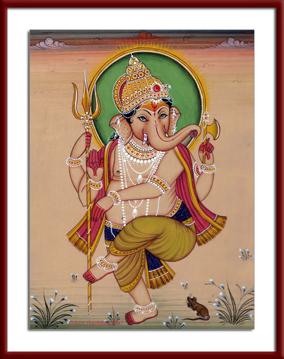 Painting of Dancing Ganesh Chaturthi by Arun Shanbhag
