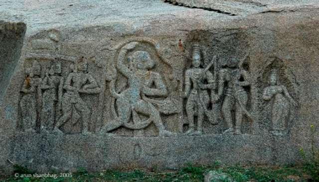 Frieze of Hanuman paying tribute to Ram, Lakshman & Sita in Hampi by Arun Shanbhag