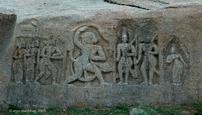 Frieze of Hanuman paying tribute to Ram, Lakshman & Sita in Hampi by Arun Shanbhag