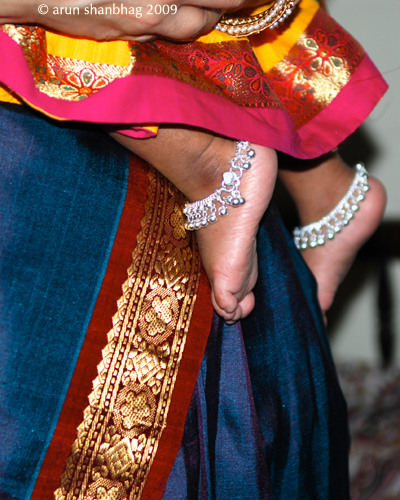 pics of Meera's silver anklets on her first birthday by Arun Shanbhag