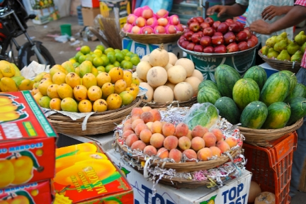 Mangoes, cantaloupes, water melons, peaches, pears and apples