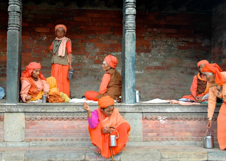 Sanyasinis (female monks) outside the Pashupatinath Temple, Kathmandu, Nepal by Arun Shanbhag