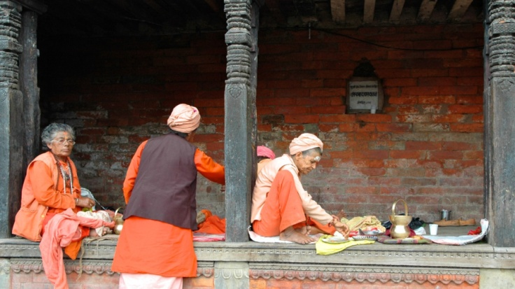 Sanyasinis at the Pashupatinath Temple, Kathmandu by Arun Shanbhag