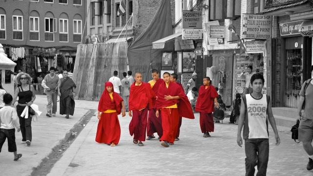 Novice Monks at the Baudhanath Stupa, Kathmandu, Nepal - Arun Shanbhag