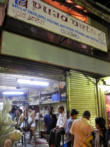 Storefront in Thakurdwar where Durga Devi murthys were being prepared Mumbai 2011 by Arun Shanbhag