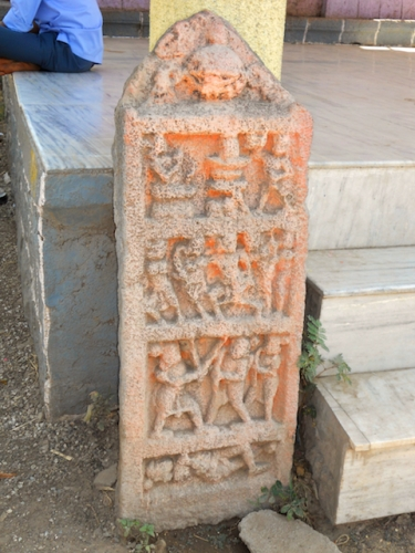 Hero Stone in front of the Devi Temple in Maharashtra by Arun Shanbhag