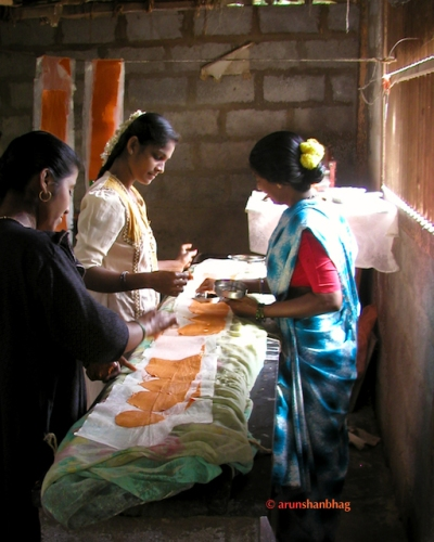 Picture of girls making papad in Kumta, India