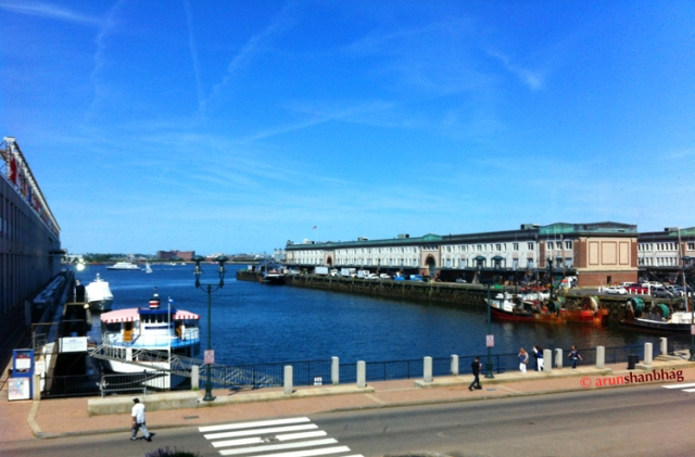 View of Boston Harbor from the Seaport Hotel Boston by Arun Shanbhag