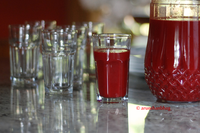 pics of Blood Red Juice in beautiful glasses by Arun Shanbhag