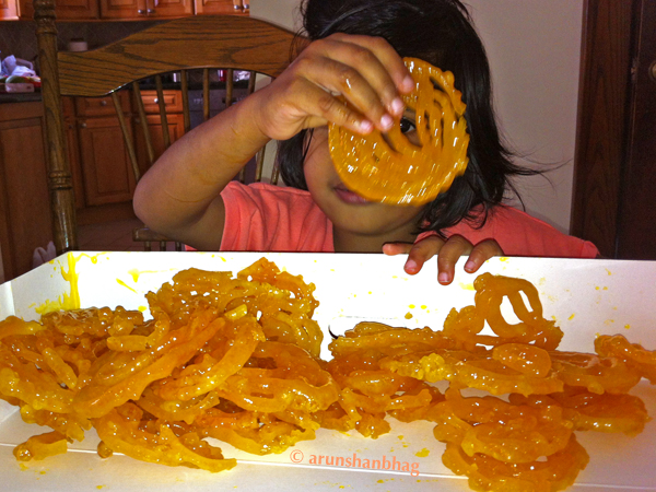 Pics of Meera showing off Jalebis from Sukhadias NJ by Arun Shanbhag
