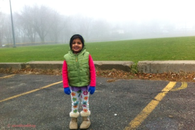 Pic of Meera on way to school in fog by Arun Shanbhag