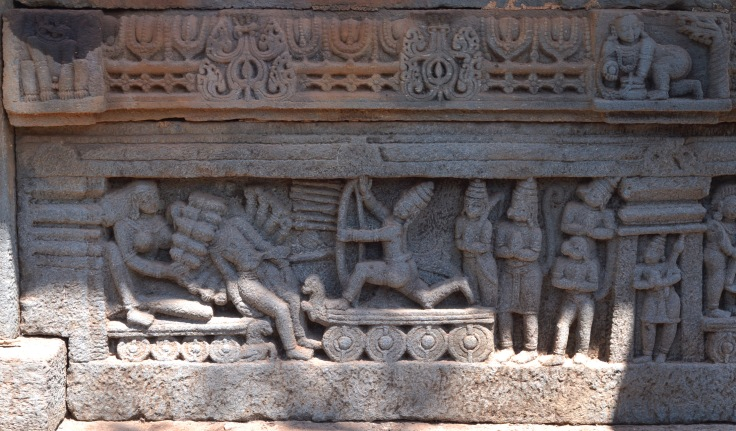 Frieze of Shri Ram killing Ravana at the Khetapai Narayana Temple in Bhatkal by Arun Shanbhag