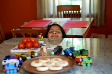 pictures of Roasted Idli with Thomas trains by Arun Shanbhag