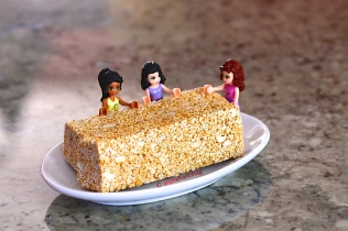 Pictures of Lego Minifigures enjoying Rajgira Chikki by Arun Shanbhag