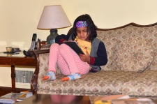 pic of Meera with iPad in Boston by Arun Shanbhag