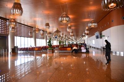 photos of Lotus lights at Mumbai's Terminal T2 at the Chhatrapati Shivaji International Airport by Arun Shanbhag