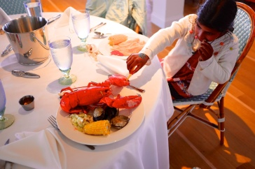 pics photos of Meera and the lobster at the Chatham Bars Inn Cape Cod by Arun Shanbhag