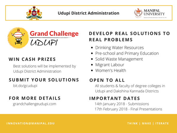 Grand Challenge Udupi organized by Udupi and Arun Shanbhag Innovation Centre Manipal